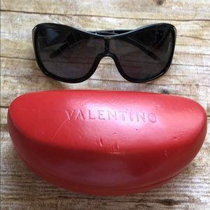 Valentino Black/Silver tone & Crystals Sunglasses